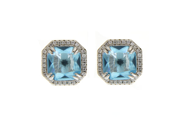 Sky Blue Cubic Zirconia Halo Stud Earrings