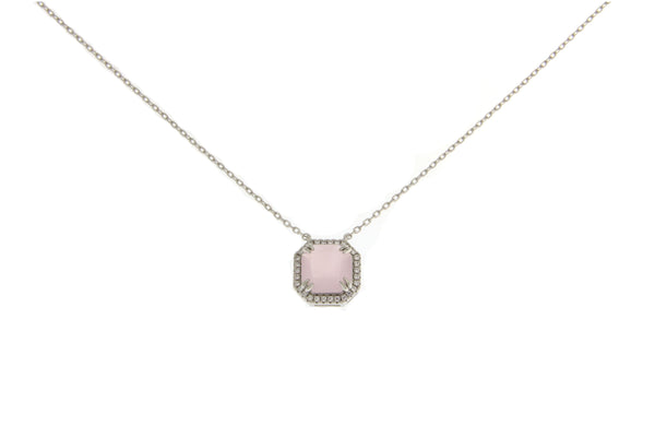 Milky Pink Cubic Zirconia Halo Necklace