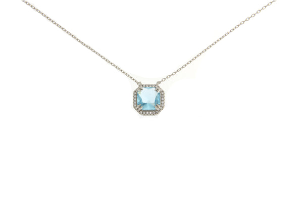 Sky Blue Cubic Zirconia Halo Necklace