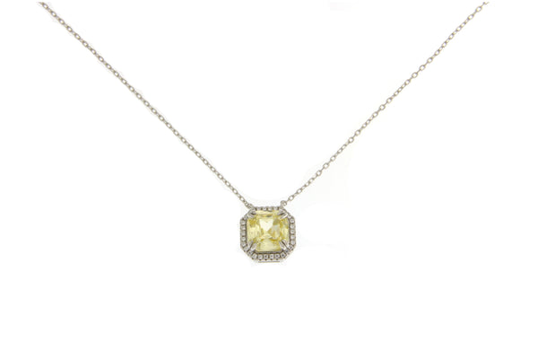 Light Yellow Cubic Zirconia Halo Necklace
