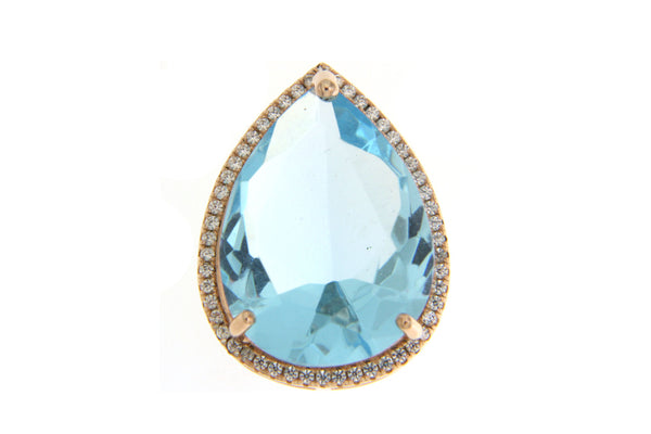 Sky Blue Teardrop Cubic Zirconia Pendant With Rose Gold Plating