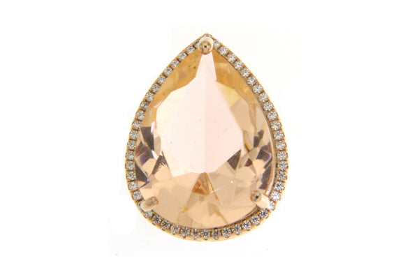 Morganite Teardrop Cubic Zirconia Pendant With Rose Gold Plating