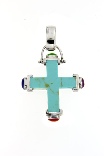 Multicolor Cross Gemstone Pendant