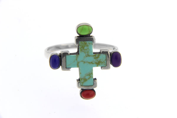 Multicolor Cross Gemstone Ring