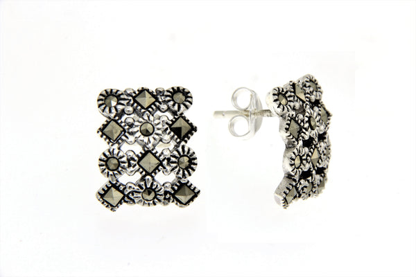 Curved Rectangular Marcasite Earrings