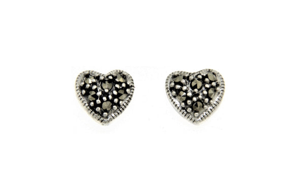 Heart Marcasite Stud Earrings