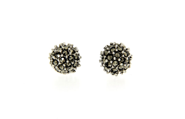 Silver Marcasite Disco Ball Earrings/8mm