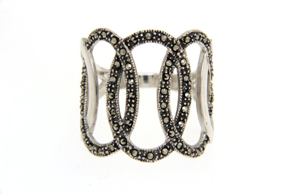 Three Oval Open Cut Marcasite Ring