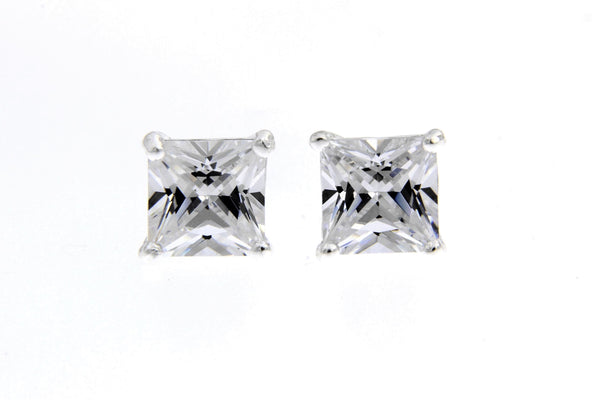 Sterling Silver CZ Square Stud Earrings/7mm