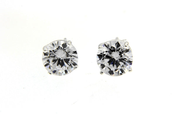 Sterling Silver CZ Round Stud Earrings/8mm