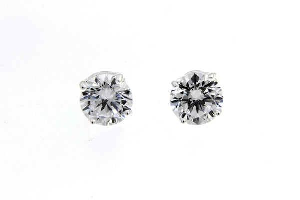 Sterling Silver CZ Round Stud Earrings/7mm