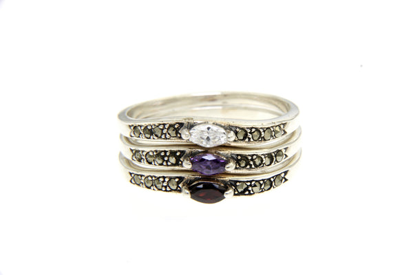 Oval Gem Marcasite Stackable Rings