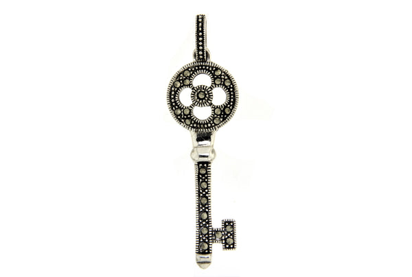Sterling Silver Key Marcasite Pendant