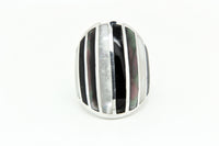 Grey Mother of Pearl Striped Ring