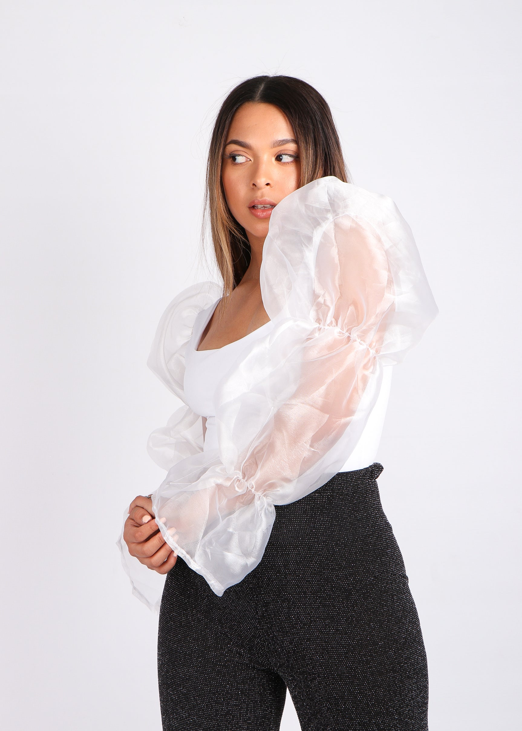 White Organza Puffy Top