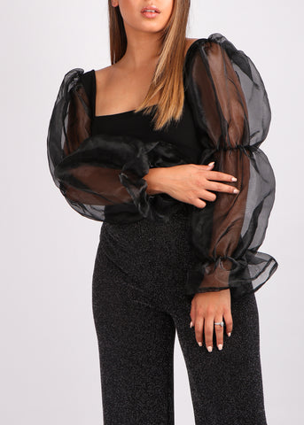 Black Organza Puffy Top