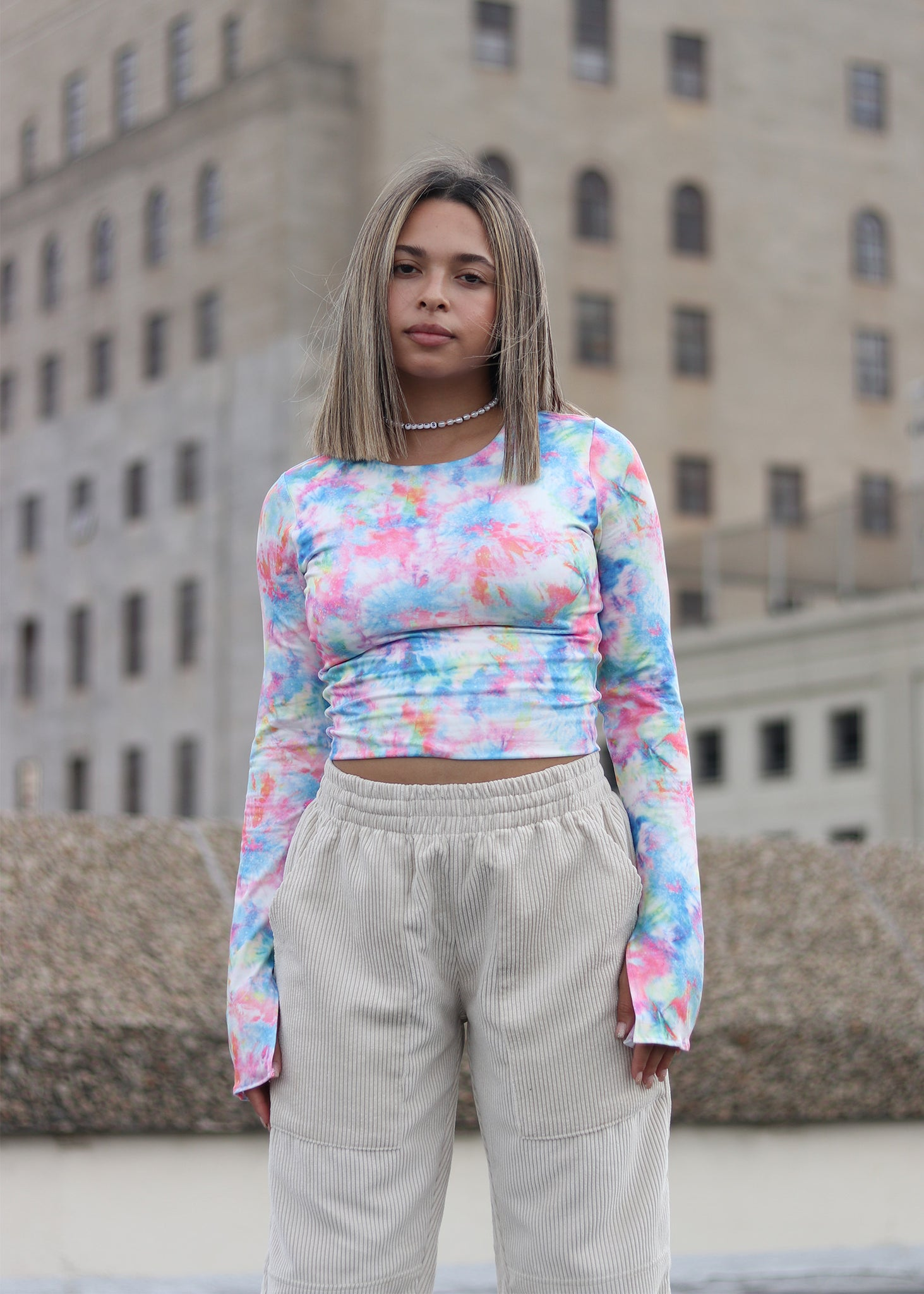 Neon Watercolour Crop Top