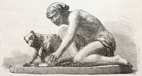 historical picture of a statue of a man training a dog