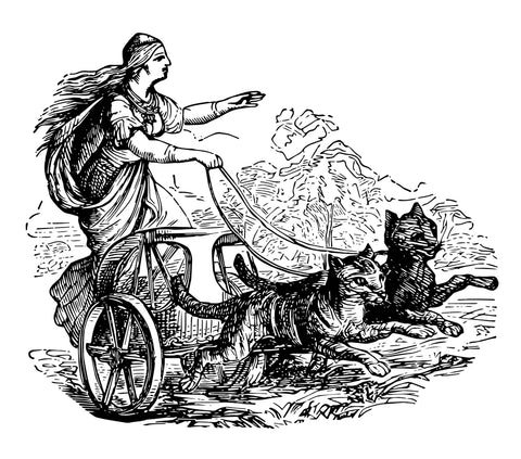 Norse Goddess Freyja with her chariot and Norwegian Forest Cats