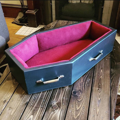 Old Pine Box Coffin Pet Bed on Etsy.com