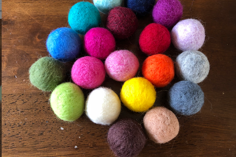 hand-felted solid wool balls