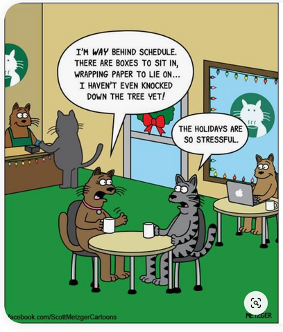 """cat talking to another cat at a cafe. """"I'm way behind schedule. there are boxes to sit in, wrapping paper to lie on...I haven't even knocked down the tree yet."""" """"The holidays are so stressful."""""""