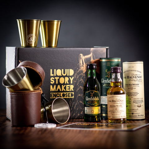 'Liquid Story Maker Enclosed' Whisky & Shots Gift Box