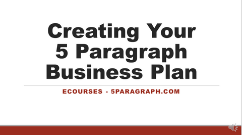 creating your 5 paragraph business plan