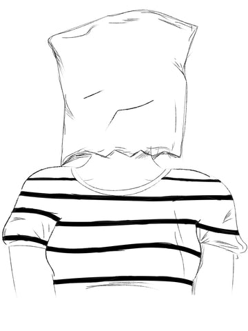 woman with a bag on her head in a striped shirt