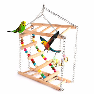 Colorful Parrot Toys Parrot Climbing Net Hanging Ladder Bridge Macaw Cage Chew Decoration Bird Toys Pet Supplies With Bells
