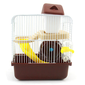SZS Hot 2 Floors Storey Hamster Cage Mouse house with slide disk spinning bottle