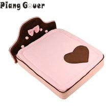 Bow Cute Dog House Cat Bed Mats Pink Pets Cat Mat Sofa Sleeping Supplies For Small Dog