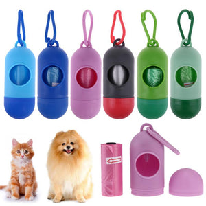 Pill Shape Pet Dog Clean up Bags Dispenser Waste Garbage Bags Carrier Holder Dispenser + Poop Bags Set Pet Dog Waste Poop Bag