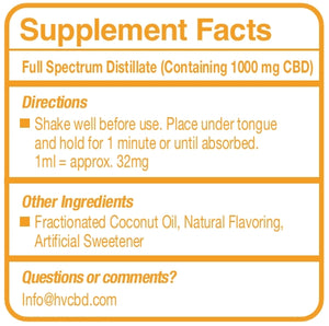 1000mg Full Spectrum CBD Blood Orange Tincture