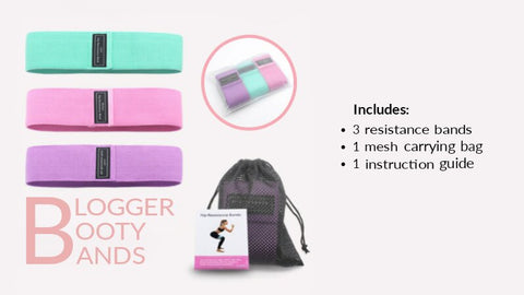 blogger booty bands packaging - pink purple mint green bands with carry bag and instructions