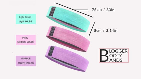 3 blogger booty bands purple pink mint green