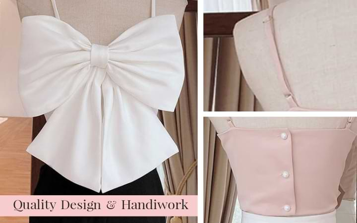 Close up of white Belle Bow Camisole Crop Top showing intricately designed bow. To the right there are close ups of the pink Belle Bow Crop Top showing the adjustable spaghetti strap and the stitching of the square cut back.