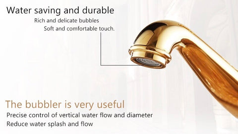 """Coco glam faucet showing bubbler/aerator on gold faucet. """"Water saving and durable. Rich and delicate bubbles. Soft and comfortable touch"""" text has a line pointing to the aerator.  """"Bubbler is very useful. Precise control of vertical water flow and diameter. Reduce water splash and flow"""" at bottom of image"""