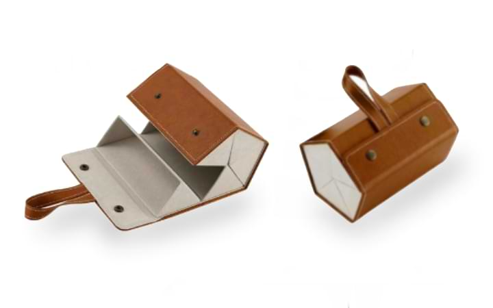Brown Foldable Sunglasses Case rolled into tote form but unbuttoned showing an empty deck, next to brown unfolded case.