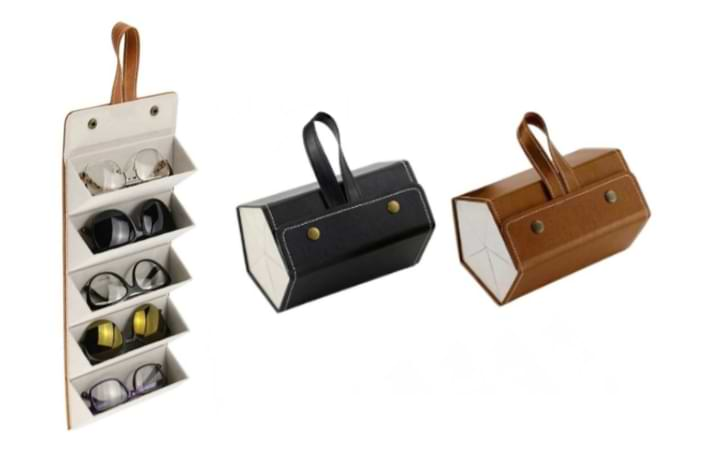 Brown Foldable Sunglasses Case with five pairs of eyewear unfolded into display mode form, next to black and brown folded cases.