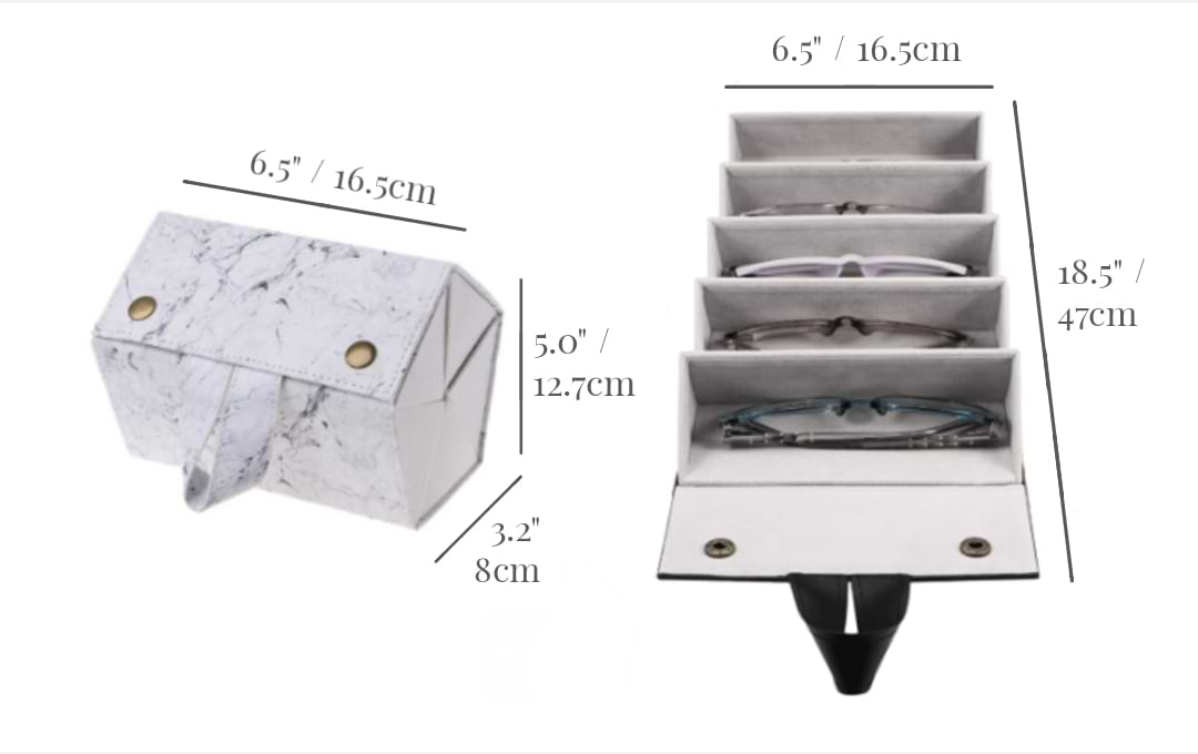 Folded white marble Foldable Sunglasses Case next to unfolded white marble model. Dimensions shown are Width: 6.5 inches / 16.5cm Depth: 3.2 inches / 8cm Height: 5.0 inches / 12.7cm (folded) Length: 18.5 inches / 47cm (open).