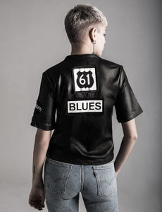 M$ BLUES LEATHER TEE