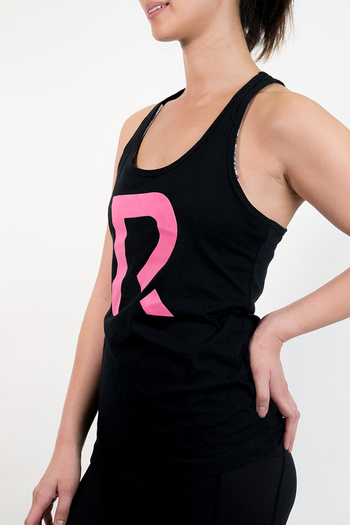 Woman's R Apparel Logo Racerback - Black