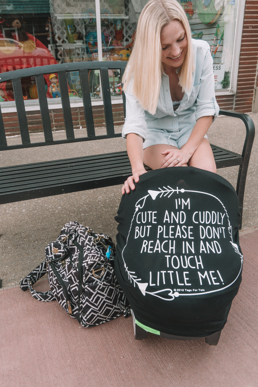 Please Don't Touch Little Me Car Seat Cover great for preemies and newborns