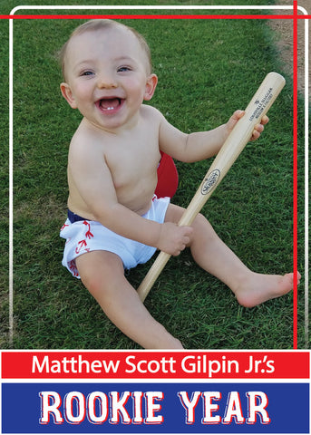 Rookie Year First Birthday Party Baseball Invitation