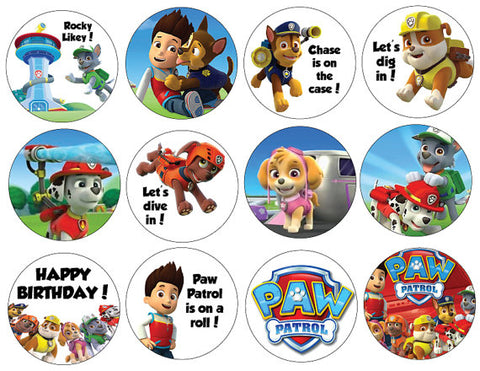 Paw Patrol Birthday Cupcake toppers