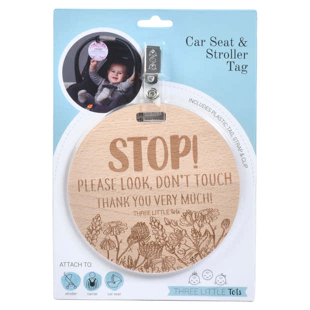 Wooden Stop Please Don't Touch Flower Car Seat & Stroller Tag 1
