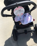 Little newborn girl in her car seat with a stop no touching baby sign perfect preemie gift