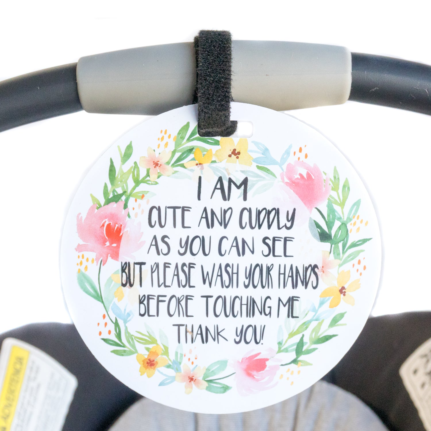 Please Wash Your Hands Cute No Touching Car Seat Tag Three Little Tots