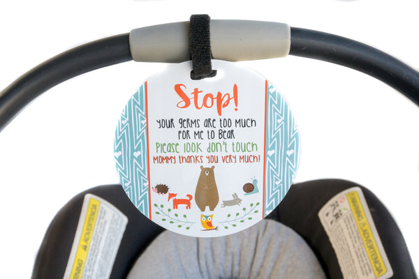 09f930163da Tags 4 Tots Newborn baby boy woodlands car seat sign to not touch baby  stroller